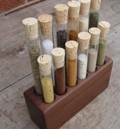 Walnut Test Tube Spice Rack by WoodenBliss on Etsy