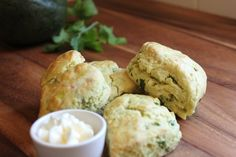 Savory Avocado Scones1.Mash avocado fairly smooth, combine flour, baking powder, salt with avocado and blend with a party cutter. Add milk, eggs cilantro and cheese (crumbled) 2.Roll the dough on a floured surface and cut into desired shape, about an inch thick. 3.Place on baking sheet, brush on egg wash (egg white mixed with 1 Tablespoon water) on tops of scones. Bake at 350 for about 20 minutes.