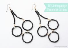 """Anthropologie-inspired Tri-Loop Chandelier Earrings jewelry making tutorial, by Emily of """"Delightfully DIY"""". Wire Jewelry, Jewelry Crafts, Beaded Jewelry, Handmade Jewelry, Silver Jewelry, Diy Schmuck, Schmuck Design, Bead Earrings, Chandelier Earrings"""