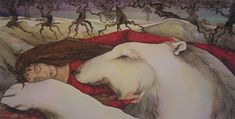 Woman sleeping with a polar bear, limited edition print from an original watercolour painting by Jackie Morris