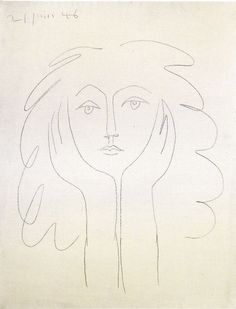 Drawing of Francoise Gilot by Picasso at Gagosian Gallery Show, NY, 2012 Pablo Picasso, Kunst Picasso, Art Picasso, Picasso Drawing, Painting & Drawing, Painting Lessons, Henri Matisse, Henri Rousseau, Picasso Sketches