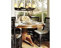 That's kinda like my new table...I love the look with different chairs...will Greg allow?  Lighting?