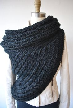 Katniss Cowl Hunger games Catching Fire Scarf in Black by KYSAA, $165.00