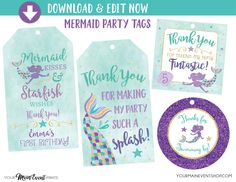 Mermaid Birthday Tags, Mermaid Favor Tags, Under The Sea Mermaid Party, Personalized Edit Yourself Instant Download by YourMainEventPrints on Etsy https://www.etsy.com/listing/517445919/mermaid-birthday-tags-mermaid-favor-tags