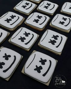 Iced Cookies, Royal Icing Cookies, Cupcake Cookies, Sugar Cookies, 12th Birthday, Birthday Celebration, Boy Birthday, Birthday Parties, Marshmello