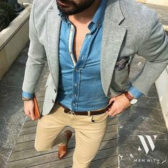 @tufanir is back with an amazing denim shirt Grey blazer and chinos #dandyback…