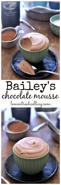 Easy to make and delicious - I layered this with Heath pieces for an easter dessert. I would maybe add a little extra cocoa powder next time. Bailey's Chocolate Mousse - light, fluffy, and completely decadent! Just Desserts, Delicious Desserts, Dessert Recipes, Yummy Food, Easy Desserts To Make, Shot Glass Desserts, Meringue Desserts, Cold Desserts, Diabetic Desserts