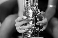 "Saatchi Art Artist Frank Dan Hofacker; Photography, ""Girl playing Saxophone (Photo B/W from 1984)- Limited Edition 1 of 20"" #art"