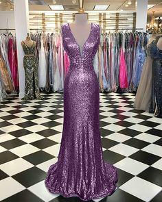 Shinny Light Purple Prom Dresses Sequined Deep V Neckline Mermaid Prom Dress 2018 Fashion #mermaid #prom #2018 #purple #sequined #vneck #2k18prom #promdress #promdressmermaid #promdresslong
