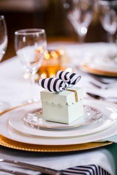 Gold, mint, black and white stripes, wedding, Paris, place setting
