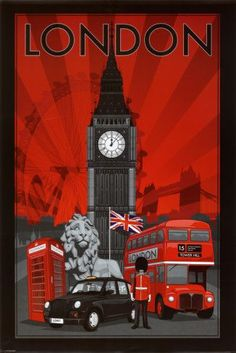 "London travel poster (Big Ben, telephone box, Union Jack, double-decker bus)-----and Tower Bridge and ""my"" beautiful Trafalgar lion! London has always been THE place for me. If I were to die without seeing it, I'd feel my life would be wasted. Poster S, Poster Prints, Art Print, Poster Collage, Retro, London Bus, London Icons, London City, Thinking Day"
