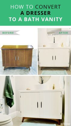 One easy way to give your bathroom more personality is to forego a standard vanity and create a more unique one from a dresser. Dressers, sideboards and even buffets can work great as a vanity with just few easy steps. http://www.ehow.com/how_6601765_convert-dresser-bath-vanity.html?utm_source=pinterest.com&utm_medium=referral&utm_content=freestyle&utm_campaign=fanpage