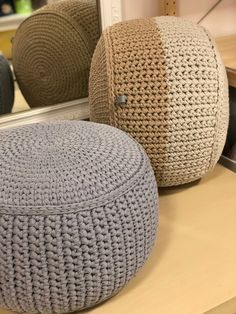 Knited cotton soft gray pouf for extra seating and enjoyable time Crochet Ball, Crochet Cord, Crochet Carpet, Knitted Ottoman, Knitted Pouf, Crochet Pouf Pattern, Living Room Pouf, Cosy Corner, Knit Basket