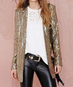 Street fashion Sequined Jacket Lapel collar Side pocket