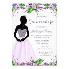 Customizable Invitation made by Zazzle Invitations. Personalize it with photos & text or shop existing designs! Princess Birthday, Girl Birthday, Zazzle Invitations, Birthday Invitations, Quinceanera Invitations, 15th Birthday, Create Your Own Invitations, Paper Design, Purple Flowers