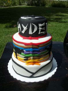 Karate cake layer with belts only, then do boy with six at top