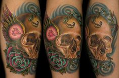 Realistic skull old school traditional wings with pink gem and rose tattoo by Nate Beavers of Houston/Lexington Name Tattoos, Great Tattoos, Skull Tattoos, Beautiful Tattoos, Tattoos For Guys, Awesome Tattoos, Tatoos, Diamond Tattoo Meaning, Diamond Tattoos