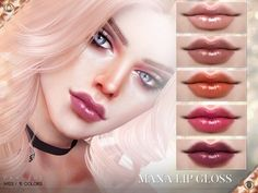 The Sims Resource: Mana Lip Gloss N123 by Pralinesims • Sims 4 Downloads