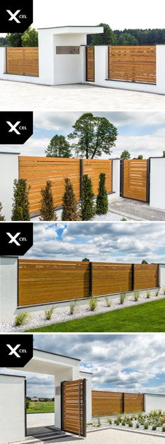 Horizon Wood aluminum fence that looks like wood fence - Modern Design Modern Fence Design, Rustic Home Design, Fence Landscaping, Backyard Fences, Tor Design, House Gate Design, Aluminum Fence, Modern Farmhouse Exterior, Facade House