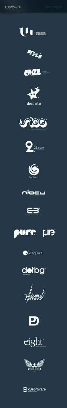 SOLID Logos Pack by Asen Petrov, via Behance. I love Ula5 clever concept.
