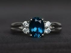 Oval cut blue topaz ring anniversary ring engagement ring 925 sterling silver #Affinity Blue Topaz Ring, Blue Sapphire Rings, Blue Rings, Gemstone Engagement Rings, Band Engagement Ring, September Birthstone Rings, Blue Gemstones, Promise Rings For Her, London Blue Topaz