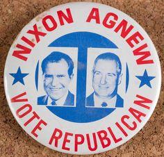 Vintage Richard Nixon Spiro Agnew Political Jugate Pin Button Vote Republican Campaign Pinback #RichardNixon #PInback FREE SHIPPING!