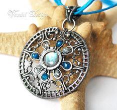 Sea Breeze - Fine,sterling silver,neon apatite,sky blue topaz medallion necklace