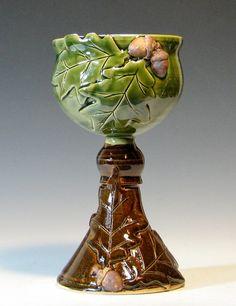 Wine goblet ceramic, oak leaf acorn chalice, wedding toasting set, caramel brown…