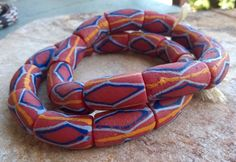 11 Large Powder Glass Beads,African Recycled Glass Beads,African Glass Beads, Ghana Painted Krobo Beads, Ghana Glass Beads, African Beads by RedEarthBeads on Etsy
