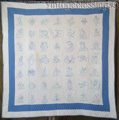 www.Vintageblessings.com Never used/Laundered ANTIQUE c1900 Bluework Embroidered Blue White QUILT
