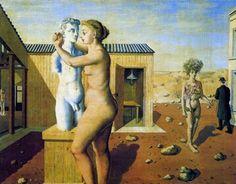 paul delvaux - pygmalion, 1939 oil on panel