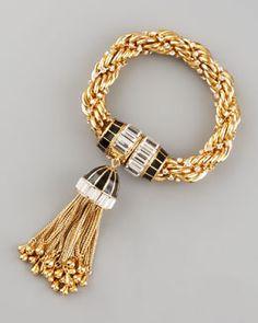 Rachel Zoe Tassel Bracelet.  Make with beaded yarn (monk's rope) and a beautiful tassel.