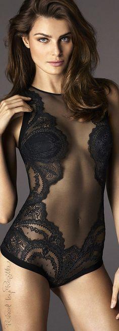 La Perla black sheer lace bodysuit