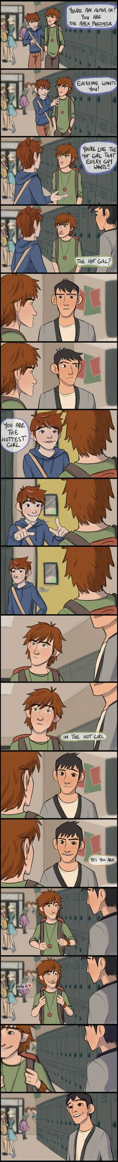 """hiccups the hot girl by derpfiree on DeviantArt . Ok, this is awesome because they did the scene with Stiles and Scott from Teen Wolf like about how Scott is """"The hot girl/ Alpha"""", but with disney caracters. Stliles is Jack( Frost ), Scott is Hiccup and Isaac is Tadashi. ( Rise of the guardians, How to train your dragons, Big hero 6). Also you can see Elsa, Anna, Rapunzel and Flynn in the back."""