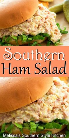 Turn ham into a homemade filling for croissants, bagels, rolls and more Meat Appetizers Appetizers Appetizers keto Appetizers parties Appetizers recipes Ham Salad Recipes, Pork Recipes, Cooking Recipes, Meat Appetizers, Appetizer Recipes, Dinner Recipes, Meat Salad, Soup And Salad, Spinach Salad