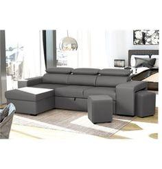 Chaise longue reversible con cama y 2 poufs FLAVIO