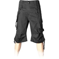 Gothic bermuda shorts for men, with bondage straps, by Queen of Darkness Clothing.