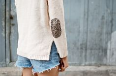 Add a bit of bling to spice up an old sweater - How-To: Sequin Elbow Patches #sequins #DIY