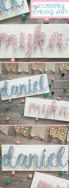 Love this idea for a nursery! Personalized string art names. Adorable. String Art - Customizable String Art - Custom Name String Art - Nail and String Art - Twin Nursery Decor - Name For Nursery - Twin Decor #Ad #nursery #nurserydecor #stringart #customized #babyshowergifts