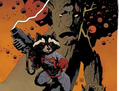 Hellboy creator Mike Mignola's Rocket Racoon and Groot variant cover art for Annihilators #1 (2011)