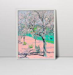 Handmade screen print painting Blossoming garden landscape serigraph screenprint original fine art nature floral spring wall decor artwork by komarovart on Etsy