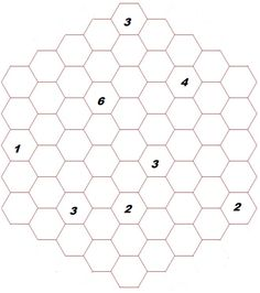 """MAY 2014: Looping Hexagon Path.  Find a path from that travels from hexagon to hexagon, ends where it started, and never crosses itself. The path can only pass from one hexagon to another if they share a side, and the path many not make a """"sharp"""" turn of 60 degrees. The numbers placed in some of the hexagons indicate the number of adjacent hexagons through with the path passes. The path cannot pass through a numbered hexagon."""