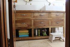 DIY dresser into bathroom vanity Diy Vanity Mirror, Diy Bathroom Vanity, Small Bathroom Vanities, Bathroom Renos, Bath Vanities, Bathroom Ideas, Warm Bathroom, Bathroom Remodeling, Modern Bathroom