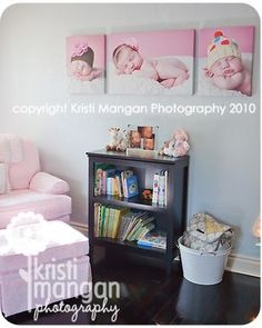 Beautiful nursery decor using canvas prints of your little one