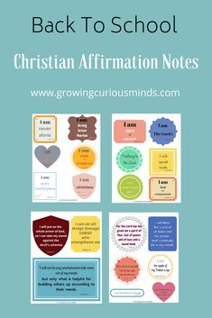 Back to school Christian affirmation notes can encourage and uplift your child.   Sweeten up their days with beautiful messages that will speak to their hearts. #christianversesforkids #backtoschool #affirmation #christianaffirmation via @growingcuriousminds