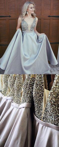High Quality A-Line V-Neck Evening Dress Sweep Train Grey Satin Prom Dress with Beading Pockets Graduation Dresses Formal  - Thumbnail 1
