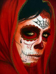 Sylvia Ji by paul nine-o Sugar Skull Girl, Sugar Skull Makeup, Sugar Skulls, Day Of The Dead Girl, Day Of The Dead Skull, Maquillage Halloween, Halloween Makeup, Sylvia Ji, Day Of The Dead Artwork