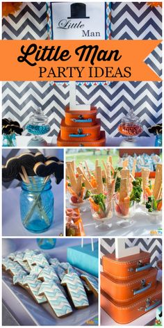 This little man mustache party for a first boy birthday features chevron stripes and fun treats! See more party ideas at CatchMyParty.com!
