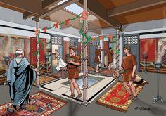 interior of a Roman domus ~ Angelo Todaro Ancient Roman Houses, Ancient Rome, Ancient History, Roman History, Art History, Fall Of Constantinople, Rome Antique, Roman Republic, Roman Architecture