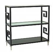 """Étagère style grecque en métal avec tablettes en verre / Greek style bar in metal with glass shelves., 36""""l x 15""""w x 36""""h"""